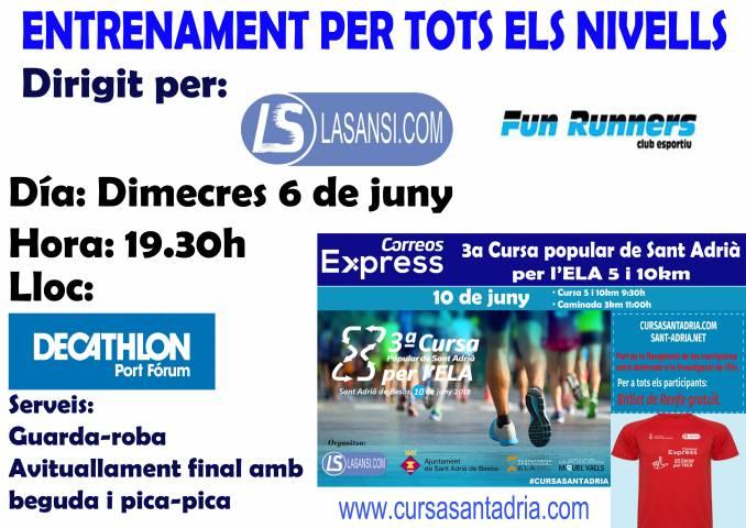 Vine als entrenaments per la Cursa de Sant Adria i del Masnou organitzats per La Sansi