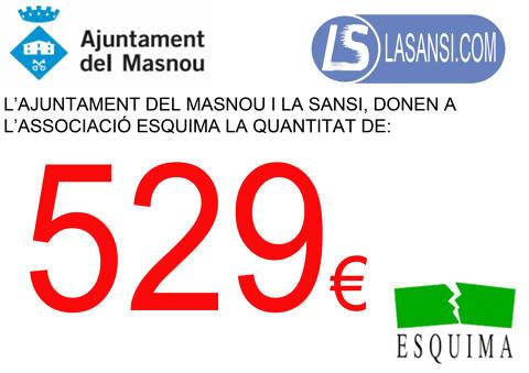 L'Alcalde del Masnou Jaume Oliveras i el regidor d'esports Joaquim Fàbregues, entreguen un xec donatiu a l'associació Esquima