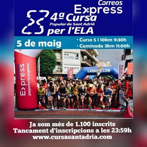 Prop de 1.100 inscrits a la 4a cursa Correus Express Sant Adrià per la Ela 05/05/19
