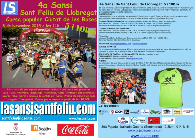 Ya son cerca de 1.100 inscritos en la 4ª Sansi Sant Feliu de Llobregat - 5 y 10km - 08/11/15 os esperamos!