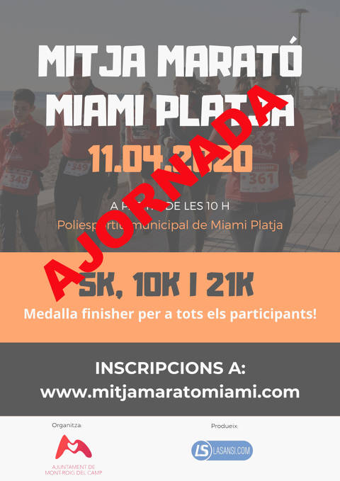 Se aplaza la Media Maratón Miami Platja