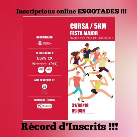 Inscripciones CERRADAS online hoy 3 de agosto a falta de 30 días para la carrera, con RÉCORD de inscrit@s, con un destacable 35% de mujeres.